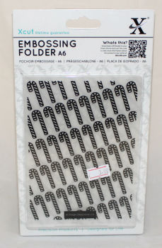 A6 Xcut Embossing folder - Candy Cane Pattern
