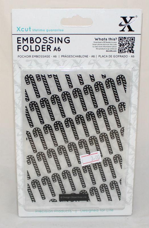 A6 Xcut Embossing folder - Candy Cane Pattern