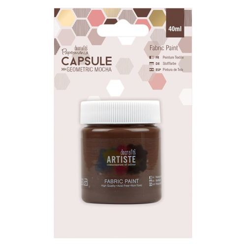 docrafts Papermania Fabric Paint - Capsule - Geometric Mocha - Brown