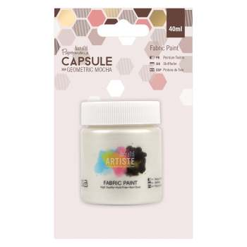 docrafts Papermania Fabric Paint - Capsule - Geometric Mocha - Pearlised White