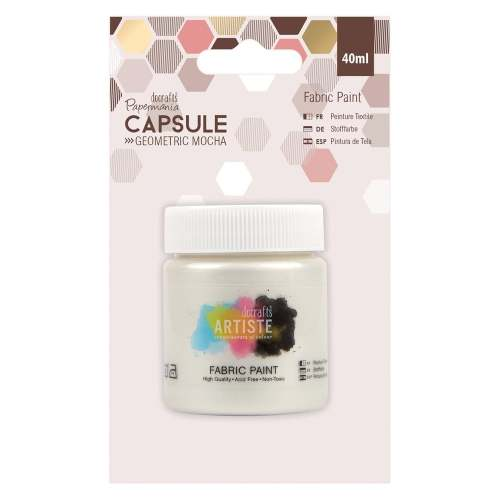 docrafts Papermania Fabric Paint - Capsule - Geometric Mocha - Pearlised Wh