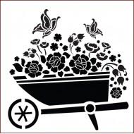 Imagination Crafts 15cm x 15cm Stencil Template - Floral Wheel Barrow