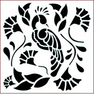 Imagination Crafts 15cm x 15cm Stencil Template - Peacock Paradise