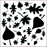 Imagination Craft 15cm x 15cm Stencil - Woodland Leaves