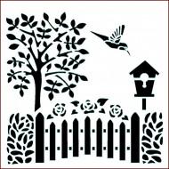 Imagination Craft 15cm x 15cm Stencil - Folk Summer Garden