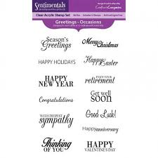 Crafters Companion Greetings - Occasions Clear Acrylic stamp set