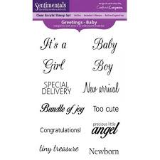 Crafters Companion Sentimentals Clear Acrylic Stamp Set Greetings - Baby