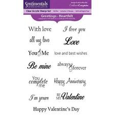 Crafters Companion Sentimentals Clear Acrylic Stamp Set Greetings - Heartfe