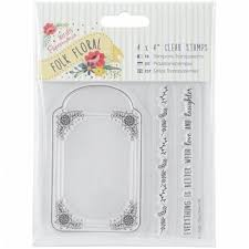 "Papermania Folk Floral 4x4"" Clear Stamps (3 pcs) - Folk Floral - Tag"
