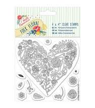 "Papermania Folk Floral 4x4"" Clear Stamps (11 pcs) - Folk Floral - Heart"