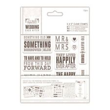 "Papermania Wedding Ever After 5x5"" Clear Stamps (12pcs) - Topper Sentiments"