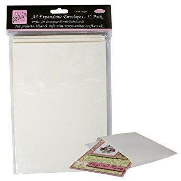 Docrafts Anita's A5 Expandable Envelopes White 12 pack