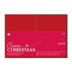 Docrafts Create Christmas A6 Textured Red and Green Cards and Envelopes 50pk
