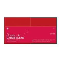 Docrafts Create Christmas 5x7 Textured Red and Green Cards and Envelopes 50