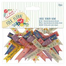 Folk Floral Large Ribbon Bows 12 pcs