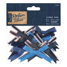 Blue Denim Ribbon Bows 12pcs