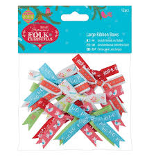 Folk Christmas Large Ribbon Bows 12pcs