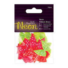 Neon Ribbon Bows 20pcs