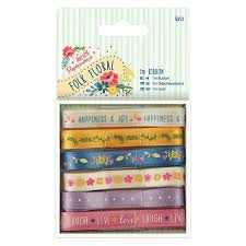 Folk Floral 1m Ribbon 6pcs