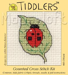 Tiddlers Cross Stitch - Ladybird on Leaf