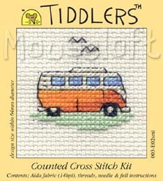 Tiddlers Cross Stitch - Orange Camper Van