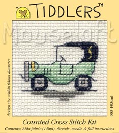 Tiddlers Cross Stitch - Green Vintage Car
