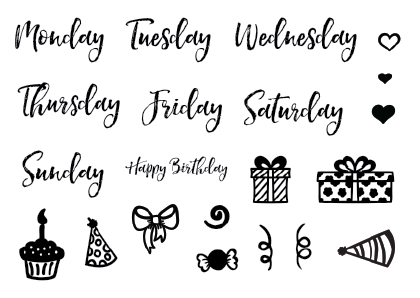 Planner Stamps - Weekdays