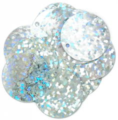 The Craft Factory Hologram Sparkles 20mm Silver