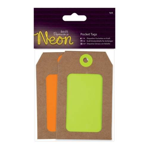 Docrafts Neon pocket tags - yellow anad orange