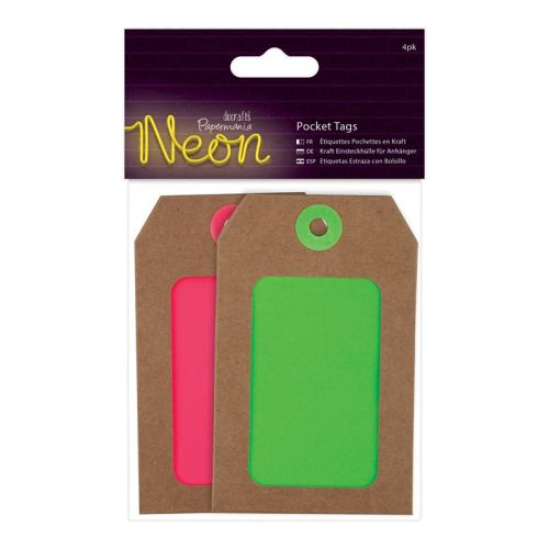 Docrafts neon pocket tags - pink and green