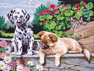 Reeves Painting by Numbers - 2 Dogs Look Who's Watching.