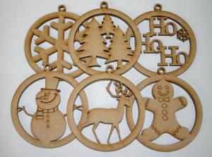 Mdf Etched Baubles pk 6