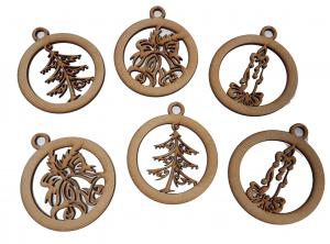 Etched Baubles Mdf pk 6