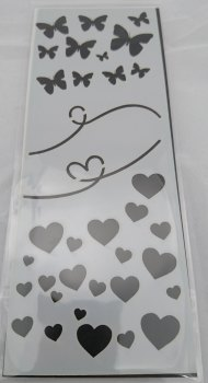 Butterflies & Hearts Stencil / Mask 80mm x 210mm