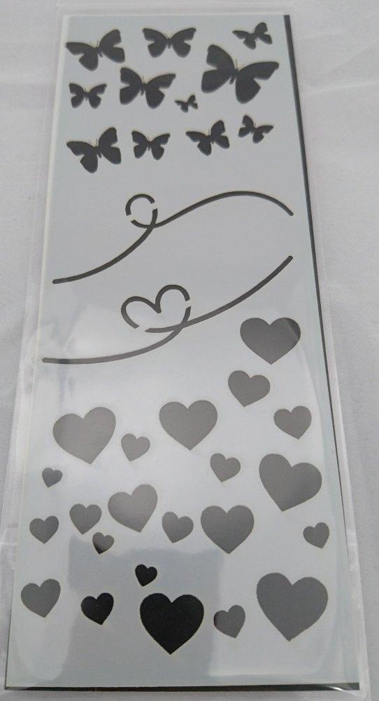 Butterflies & Hearts Stencil / Mask 80mm x 210mm
