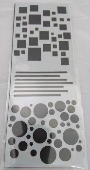 Circles & Squares Stencil / Mask 80mm x 210mm
