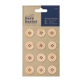 docrafts Papermania bare basics - Wooden buttons - 12 pcs