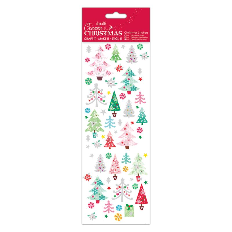 Docrafts christmas stickers - Colourful Trees