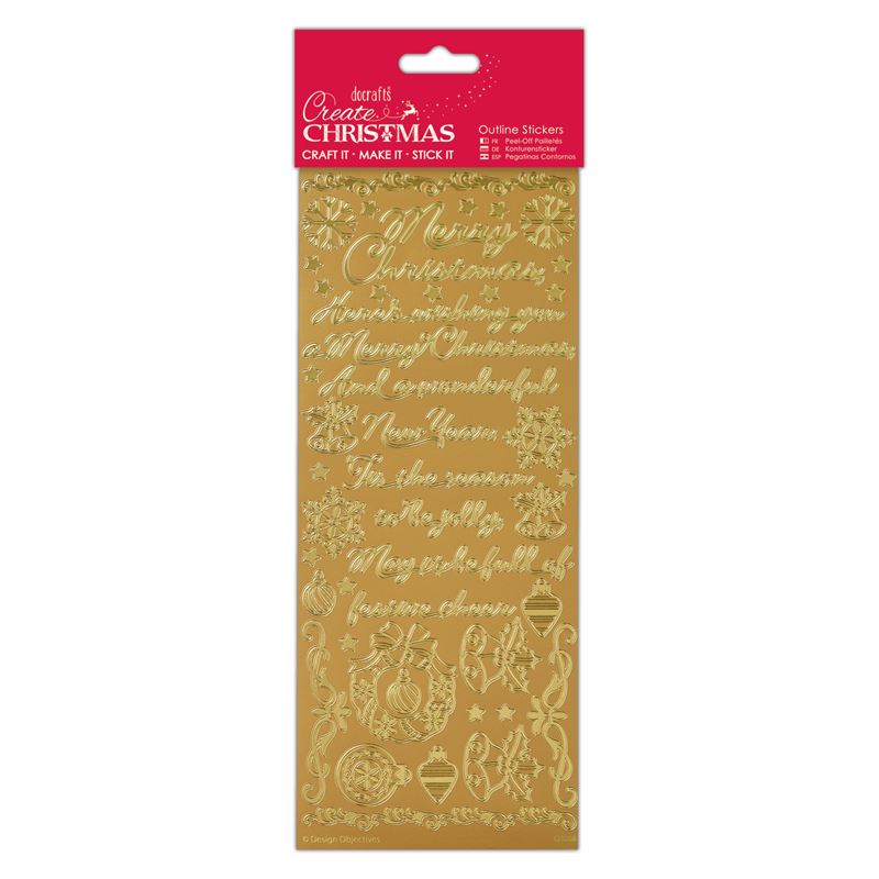 Docrafts outline christmas stickers - Traditional Xmas Verses Gold