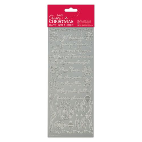Docrafts Outline stickers - Trditional xmas verses Silver