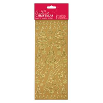 Docrafts outline stickers - Christmas trees Gold