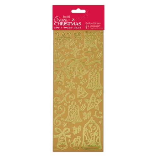 Docrafts outline stickers - Bells Gold