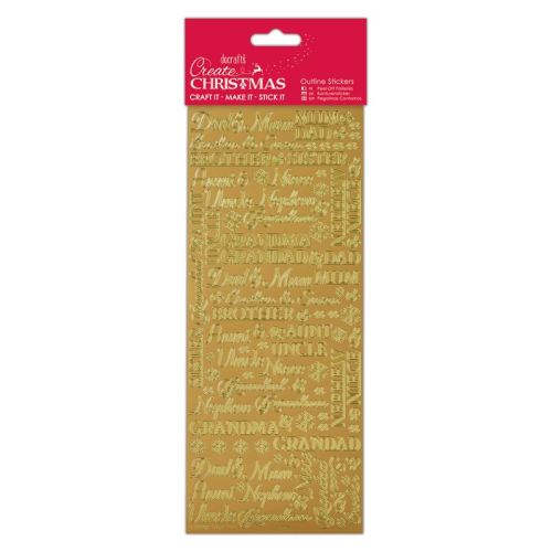 Docrafts Outline stickers - Traditional Xmas Relations Gold