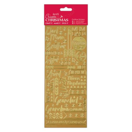 Docrafts outline stickers - Contemporary Xmas Relations Gold