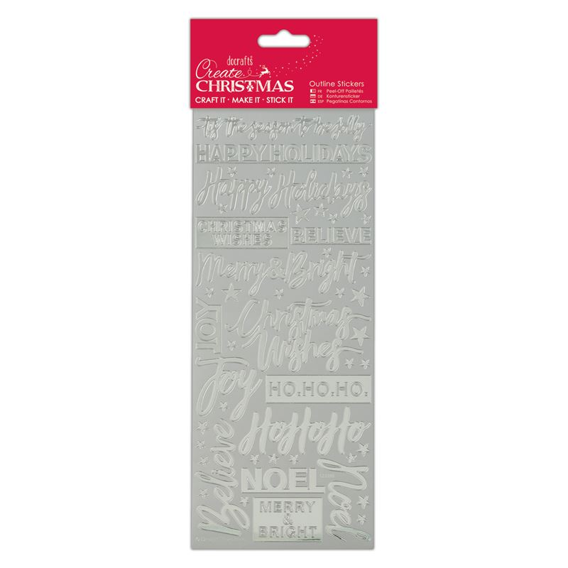 Docrafts outline stickers - Contemporary Xmas Sentiments Silver