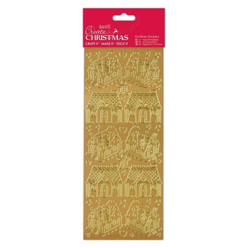 Docrafts outline stickers - Gingerbread House Gold