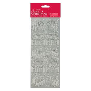 Docrafts outline stickers - Gingerbread House Silver
