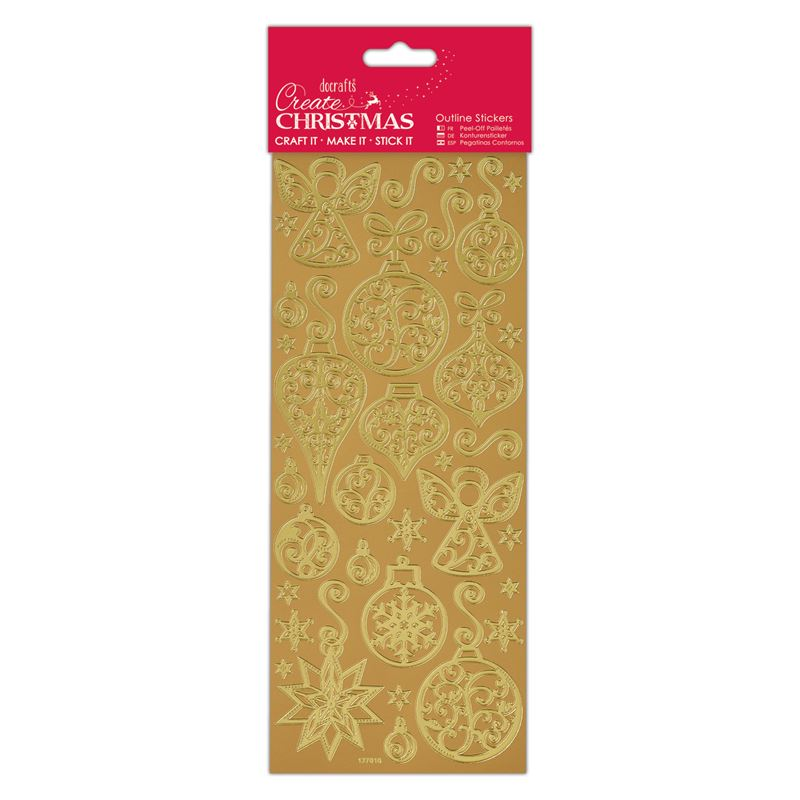 Docrafts Outline stickers - Baubles & Angels Gold