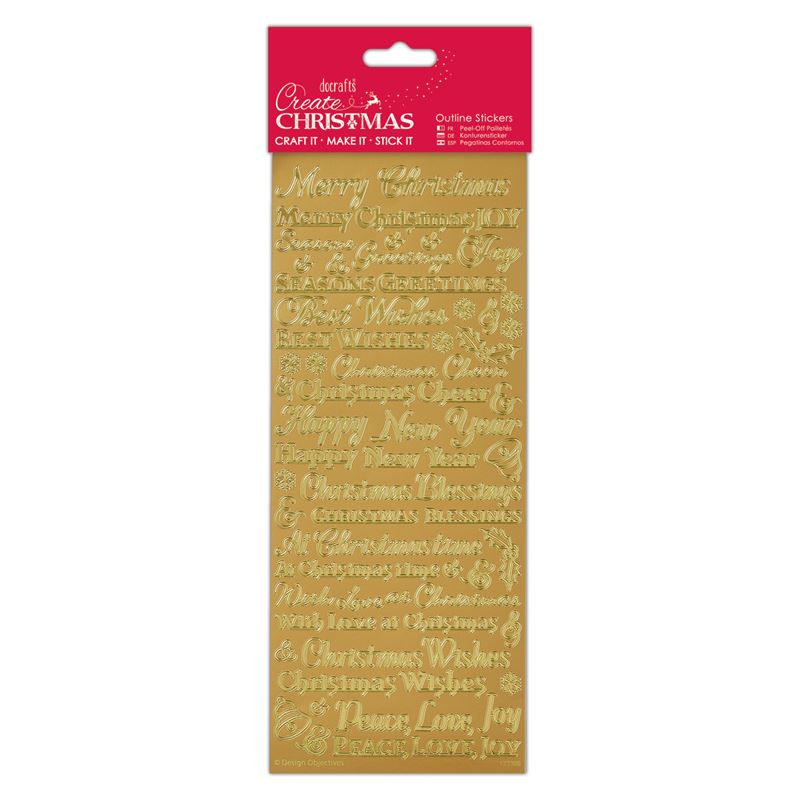 Docarfts outline stickers - Traditional Xmas Sentiments Gold