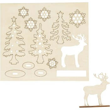 Self-assembly Figures, festive forest with deer, L: 15,5 cm, W: 17,5 cm, plywood, 1pack, thickness 3 mm